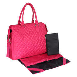 Pink Polyester Diaper Bag With Mat And Pouch, Capacity: 12.7 L, Size: Lxhxw- 35.3x30.4x11.9 Cm