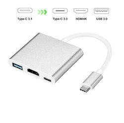 ROQ Type-c To Hdmi 3 In 1 Adapter Hdmi   USB 3.0   Type C