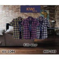 Collar Neck Kids Fashion Check Shirt, Size: 4-16 Year