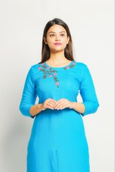 Front Double Layer Round Neck Embroidered Kurta With