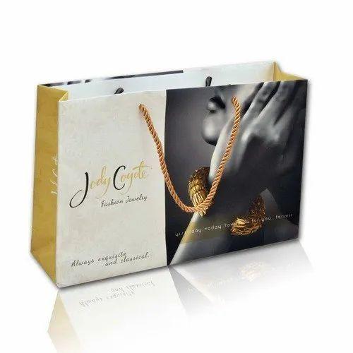 Green Rope-Handle Laminated Paper Shopping Bag, Capacity: 1-2 kg