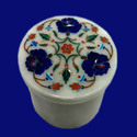 Marble Inlaid Box With Floral Work Stone Box
