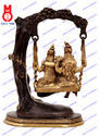 Lord Shiva Family Swing On Tree W/Peacock Statues