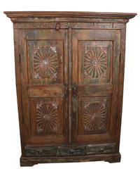 Shree Karni Handicrafts Multicolor Wooden Cabinet Almirah With 3 Drawers