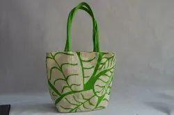Green Jute Designer Hand Bag