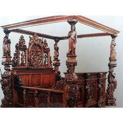 Indoor Brown Wooden Carved Bed, Size: King, Warranty: 1 Year