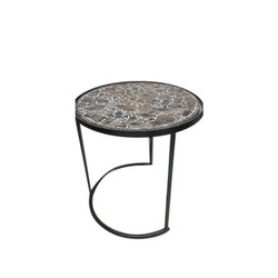 Iron And Wooden Metal Round Table, For Home, Size: 18x17 Inch