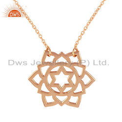 Anahata Chakra Design Rose Gold Plated 925 Silver Chain Pendant