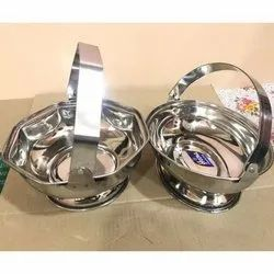 Silver Stainless Steel SS Flower Basket