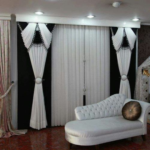 Black And White Cotton Fancy Door Curtain