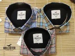 Multicolor Collar Neck Twill Check Shirts, Size: M