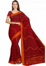 Handloom Cotton Brown Embroidered Saree