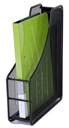 Black 1 Layer Metal Mesh Magazine Document Holder File Rack for Office, Size: 14x11 inch