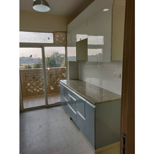 Wooden Straight Marble Modular Kitchen