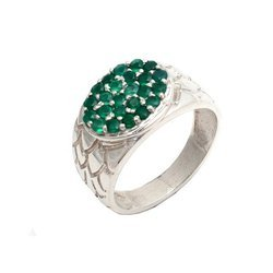 Beautiful Emerald Natural Stone Luxury 925 Fine Sterling Silver Ring Forever