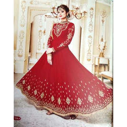 Red And Golden Party Wear Ladies Umbrella Kurti