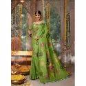 Fancy Green Cotton Silk Saree