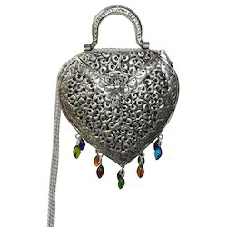 White Metal Clutch Bag With Heart Shape
