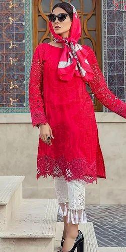 ece7656f35 Red And Cyan Shree Fab Mariya.B.Lawn 18 Collection Vol-2 8 Pc ...