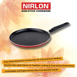 Nirlon Aluminum Non Stick Dosa Tawa 24cm, Red/ Black, Kitchen Cookware Pan