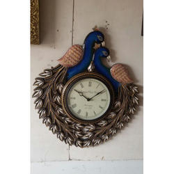 Double Peacock Multi Color Wall Clock Vintage Clock