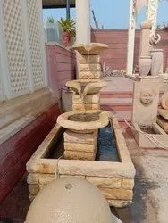 Teak Sandstone Garden Water Fountain