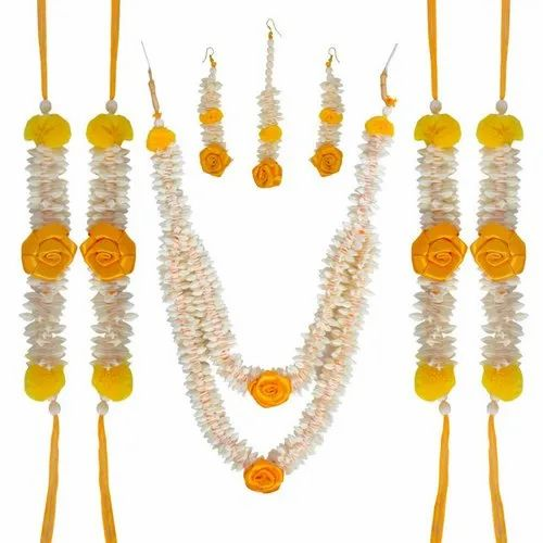 Urban Sigma Haldi Yellow And White Artificial Flower Jewellery For
