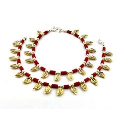 D9 Creation Oxidized Metal Oxidized Red Stone Leaf Golden Anklets