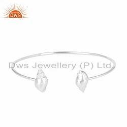 Conch Design 925 Sterling Fine Silver Womens Cuff Bangle Jewelry