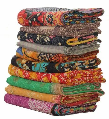 Kantha Quilt Indian Block Print Kantha Throw Handmade Blanket Wholesale Lot 5 pc