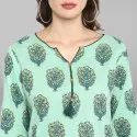 Sea Green Pure Cotton Kurta(JNE3448)