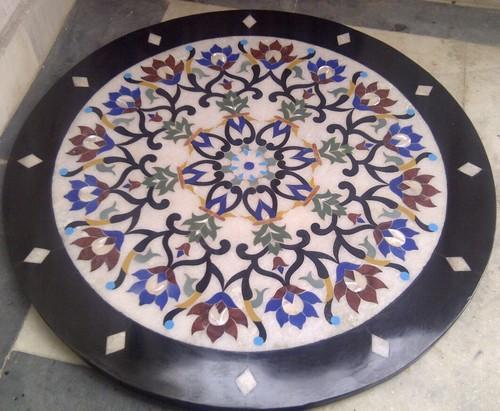 Makrana White Marble Round Inlay Table Top Size Inches By - 30 round marble table top