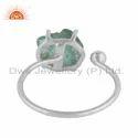 Raw Apatite Gemstone Sterling Silver Adjustable Ring