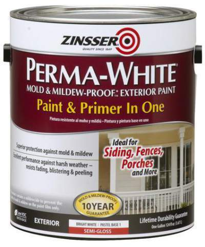 Zinsser Perma White Mold And Mildew Proof Exterior Paint Packaging Type Tin