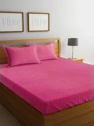 Satin Striped Bed Sheet Double