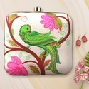 Bird Printed Box Clutch