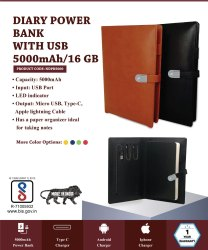 Diary Power Bank 5000mAH with USB 16GB