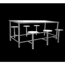 SKCE Stainless Steel SS 6 Seater Dining Table, For Canteen