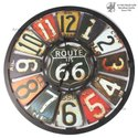 Digital Round Wooden Route 66 Clock