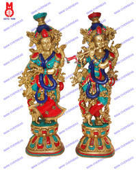 Double Mala & Stone Work Lord Radha Krishna Statue
