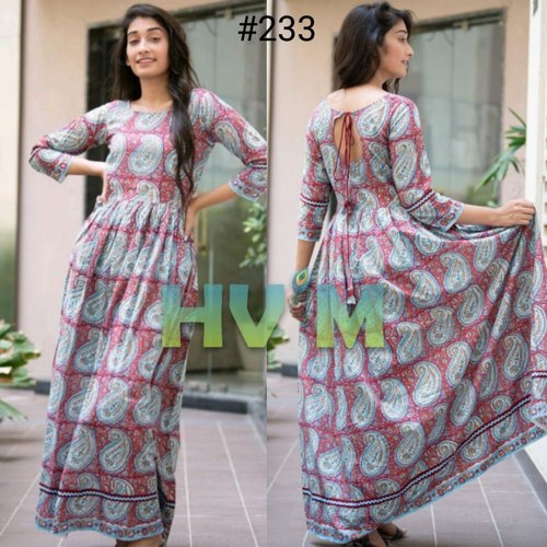 Cotton Block Print Maxi Dress