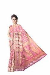 All Over Gajri Color Dupion Silk Bandhani Saree