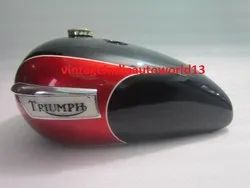 New Triumph T140 Black And Cherry Painted Petrol Tank (Repro) With Badges And Brass Cap & Tap