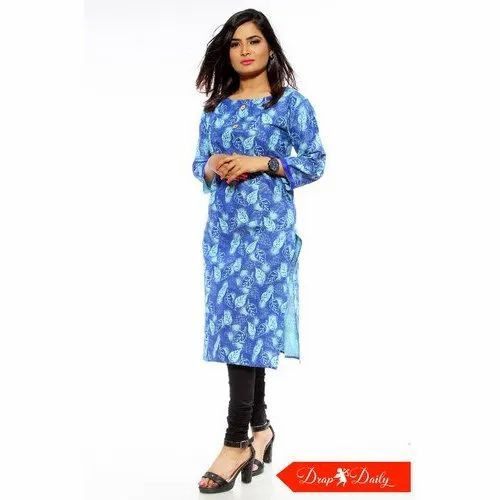 3/4th Sleeve Round Neck Floral Printed Cotton Kurti