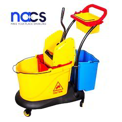 Three Bucket Mop Wringer Trolley