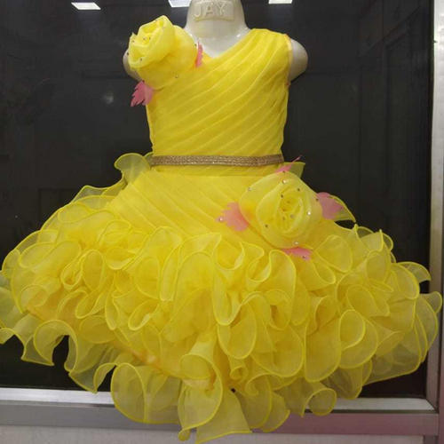 Baby Girl Yellow Party Wear Dress, Size: 16-26