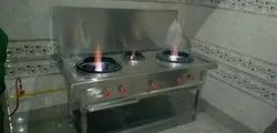 S.K. Kitchen Stainless Steel Chineess Cooking Range, For Hotel