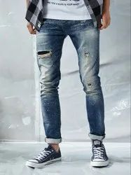 Blue Slim Fit Burnout And Brush Effect Jeans