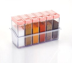 Plastic Spice Rack Pack of 6 For Kitchen Storage Container Rack Sets
