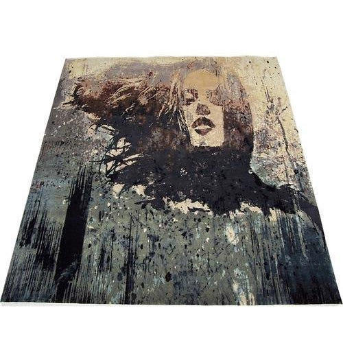 Bedroom Wool Silk Rug, Size: 8x10